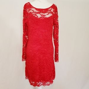 Red Sheer Floral Lace Long Sleeved Dress
